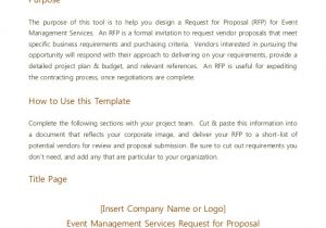 Request for Proposal Email Template event Management Rfp Template