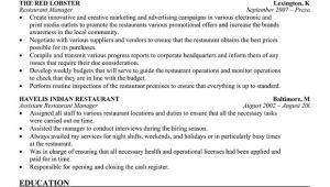 Restaurant Resume Templates Restaurant Manager Resume Template Business Articles
