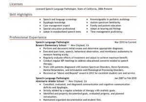 Resume Basic Language Skills Speech Language Pathologist Resume Examples Created by