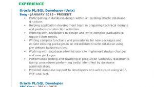 Resume Basic Unix Pl Sql Developer Resume Samples Qwikresume