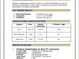 Resume for Bca Student Resume format for Bca Freshers Pdf