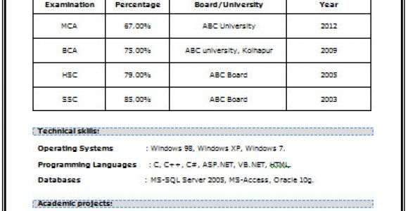Resume for Mca Student Professional Curriculum Vitae Resume Template for All
