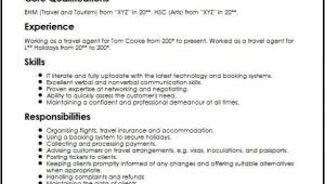 Resume for tourism Student Travel and tourism Agent Cv Sample Myperfectcv