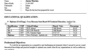 Resume format for Diploma In Civil Engineering Freshers 40 Fresher Resume Examples