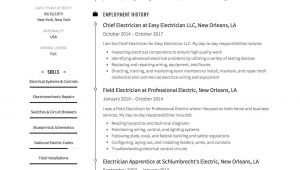 Resume format for Electrician Job Guide Electrician Resume Samples 12 Examples Pdf