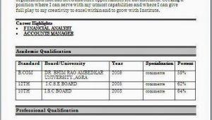 Resume format for Freshers Bcom Bcom Fresher Resume format