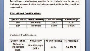 Resume format for Freshers Diploma Mechanical Engineers Mechanical Diploma Resume format for Freshers