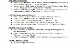Resume format for Hotel Management Job Hotel Management Resume format