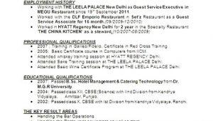 Resume format for Hotel Management Job Hotel Management Resume format