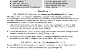 Resume format for Housekeeping Job Housekeeping Resume Sample Monster Com