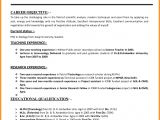 Resume format for Lecturer Job How to Write A Good Resume for Teaching Job Teacher