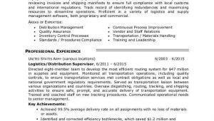 Resume format for Logistics Job Logistics Resume Sample Monster Com