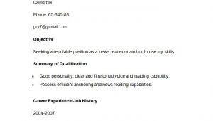 Resume format for News Reader Fresher Media Resume Template 31 Free Samples Examples format