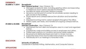 Resume format for Receptionist Job Unforgettable Receptionist Resume Examples to Stand Out
