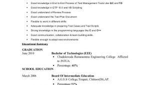 Resume format for Testing Freshers Fresher Testing Cv