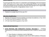 Resume format In Word for Accountant Accounts Resume format In Word