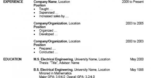 Resume Table format Word Free Resume Template for Microsoft Word
