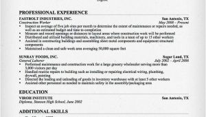 Resume Template for Construction Construction Worker Resume Sample Resume Genius