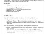 Resume Template for Server Position Sample Resume for Cocktail Waitress Job Position