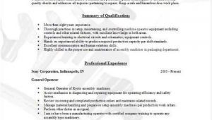 Resume Templates for Manufacturing Jobs Manufacturing Operator Resume Occupational Examples
