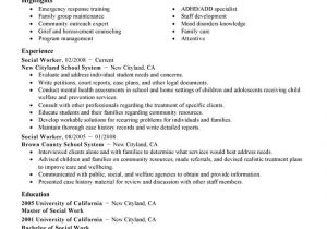 Resume Templates for social Workers Best social Worker Resume Example Livecareer