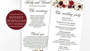 Ring Bearer Thank You Card Wording Wedding Program Template Marsala Wedding Template Marsala