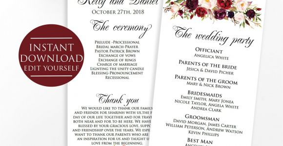 Ring Bearer Thank You Card Wording Wedding Program Template Marsala Wedding Template Marsala