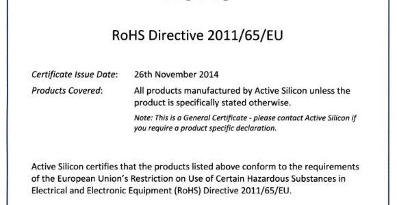 Rohs Compliance Certificate Template Eu Rohs Certificate Of Compliance Template Templates