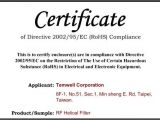 Rohs Compliance Certificate Template Temwell Corporation