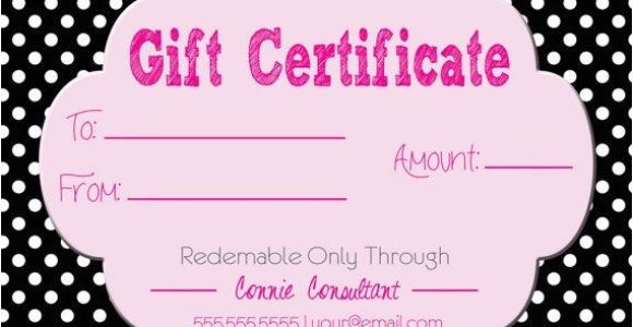 Romantic Gift Certificate Template Gift Certificate for Direct Sales Pure Romance