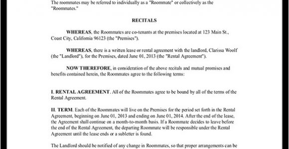 Roommate Contracts Template Roommate Contract Room Rental Agreement Rocket Lawyer