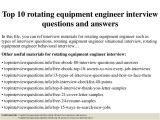 Rotating Equipment Engineer Resume top 10 Rotating Equipment Engineer Interview Questions and
