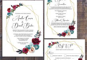 Rsvp Card Wording for Wedding Wedding Suite Wedding Invitation Geometric Invitation