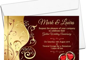 Ruby Anniversary Card for Husband 10 Personalised Golden 50th 40th Ruby Wedding Anniversary Invitations Invites N6