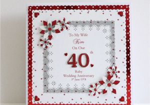 Ruby Anniversary Card for Husband 40th Ruby Wedding Anniversary Card Wife Husband Mum Dad Nan