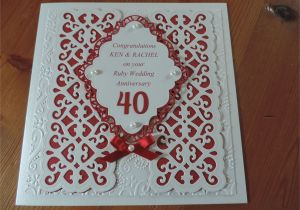 Ruby Anniversary Card for Husband Ruby Wedding Using Sue Wilson Dies Wedding Anniversary
