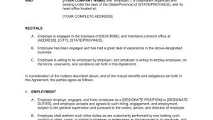 Salary Employee Contract Template Employment Agreement General Template Word Pdf by
