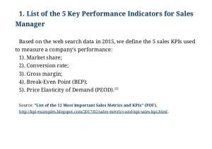 Sales Key Performance Indicators Template Examples Of Key Performance Indicators for Sales Manager