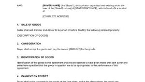 Sales Of Goods Contract Template Contract for the Sale Of Goods Template Sample form