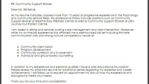Sample Cover Letter for Community Support Worker Community Support Worker Cover Letter Sample Cover