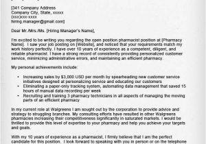 Sample Cover Letter for Pharmacy Technician Job Pharmacist Cover Letter Sample Resume Genius