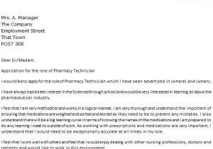 Sample Cover Letter for Pharmacy Technician Job Pharmacy Technician Cover Letter Example Icover org Uk