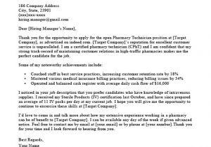 Sample Cover Letter for Pharmacy Technician Job Pharmacy Technician Cover Letter Sample Guide