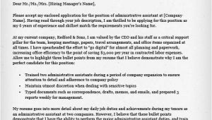Sample Of A Cover Letter for Administrative assistant Administrative assistant Executive assistant Cover
