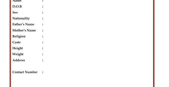 Sample Resume Biodata Blank form Image Result for Blank Biodata form Download In 2019