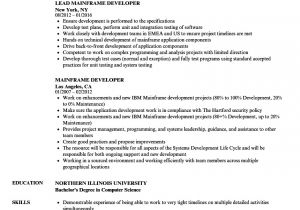 Sample Resume for 2 Years Experience In Mainframe Nice Sample Resume for Experienced Mainframe Developer