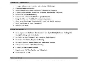 Sample Resume for 2 Years Experience In Mainframe Sample Resume for 2 Years Experience In software Testing