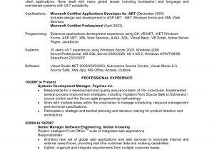 Sample Resume for 2 Years Experience In Net Net Developer Resume 5 Years Sidemcicek Com