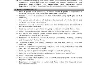 Sample Resume for 2 Years Experience In Net Sample Resume for 2 Years Experience In Manual Testing Qtp