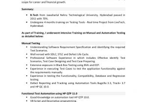 Sample Resume for 2 Years Experience In Net Sample Resume for 3 Years Experience In Manual Testing